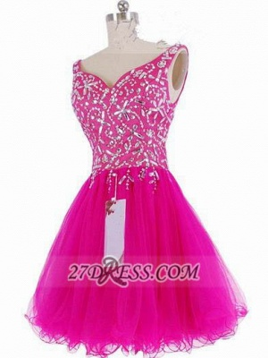 Luxurious Sweetheart Sleeveless Short Homecoming Dress Beadings Crystals Lace-up Fuchsia Cocktail Gown_1