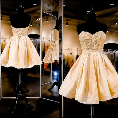 Stunning Sweetheart Beads Short Homecoming Dress Lace-up_3