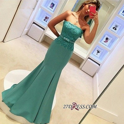 2020 Strapless Lace Sleeveless Delicate Mermaid Bow Prom Dress_2