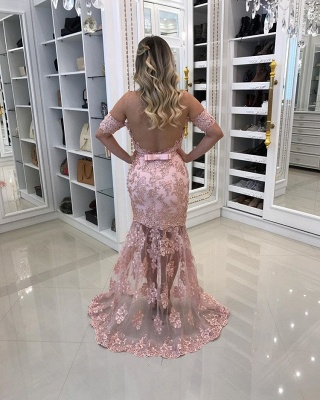Modest Off-the-shoulder Lace Belt Evening Dress | Mermaid Party Gown BC0495_3