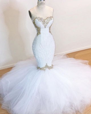 Stunning Sweetheart White Wedding Dresses   2020 Mermaid Tulle Bridla Gowns With Beads_2