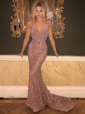Glamorous Sweetheart 2020 Prom Dress Long Mermaid With Beadings Sequins BA9506_1