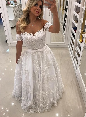Modern White Beads Lace A-line Evening Dress | Off-the-shoulder Evening Gown_1
