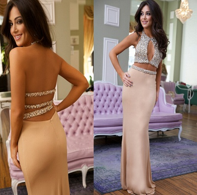 Gorgeous Crystals Mermaid 2020 Prom Dress Halter Two Piece_3