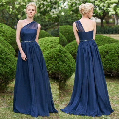 Gorgeous One Shoulder Navy Bridesmaid Dresses | 2020 Long Chiffon Prom Dress Online_2