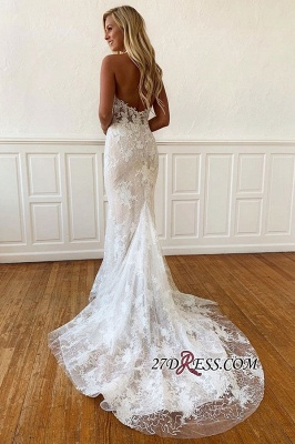 Sleeveless Sheath Unique Applique Beaded Halter Wedding Dress