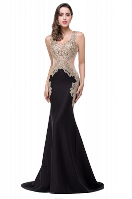 Delicate Mermaid Appliques Straps 2020 Prom Dress Sweep Train Sleeveless_4