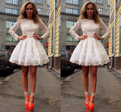 Elegant Long Sleeve Short Homecoming Dress With Lace_2