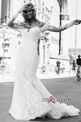 Exquisite Lace Mermaid Wedding Dresses | Off The Shoulder Long Sleeves Bridal Gowns_3