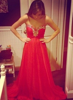 Sexy Red Sweetheart Prom Dress 2020 Chiffon Long A-line Evening Party Gowns_1