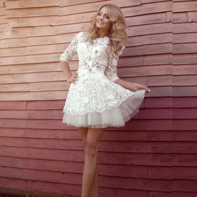 Lovely Half-Sleeves Lace Homecoming Dresses | Tulle Short Party Gowns_2