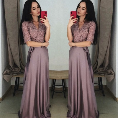 Stunning Hal-Sleeve Long Prom Dress | 2020 Lace Evening Gowns On Sale_2