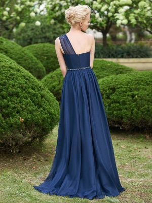 Gorgeous One Shoulder Navy Bridesmaid Dresses | 2020 Long Chiffon Prom Dress Online_5