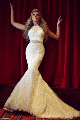 Gorgeous Lace Mermaid Wedding Dresses Beadings Sweep Train Bridal Gowns with Bottons_1