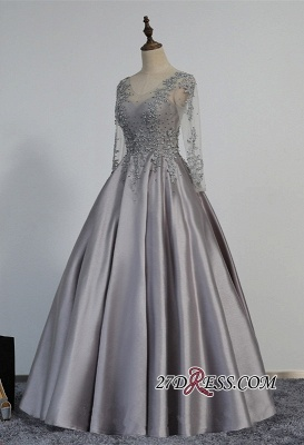 Modest Lace-Appliques Long-Sleeve Beading A-line Prom Dress_3