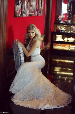 Gorgeous Lace Mermaid Wedding Dresses Beadings Sweep Train Bridal Gowns with Bottons_5
