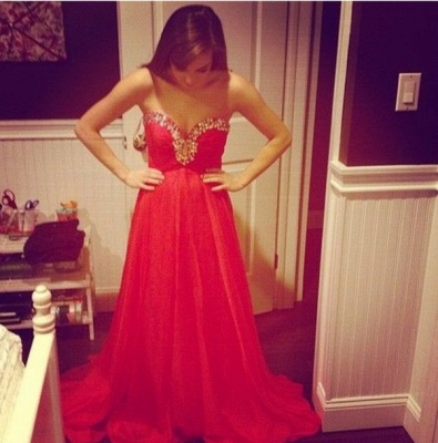 Sexy Red Sweetheart Prom Dress 2020 Chiffon Long A-line Evening Party Gowns_2