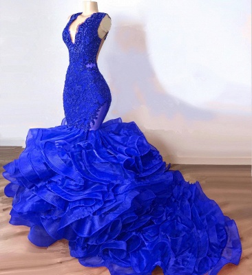 Gorgeous Royal Blue Mermaid Prom Dress | 2020 Lace Appliques Ruffles Evening Gowns BC1687_2