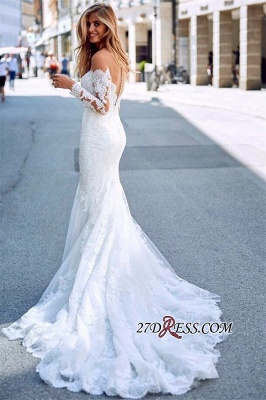Exquisite Lace Mermaid Wedding Dresses | Off The Shoulder Long Sleeves Bridal Gowns_2