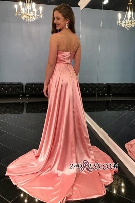 Sexy Side-Slit Spaghetti-Straps A-Line Prom Dresses_2