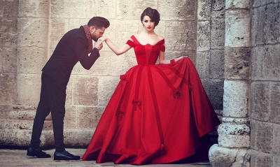 Newest Red Bowknot Ball Gown Evening Dress 2020 Off-the-shoulder Floor-length_3