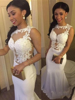 Simple White Crew Sleeveless Mermaid Prom Dress   2020 Lace Appliques Evening Gown On Sale BA3761_1