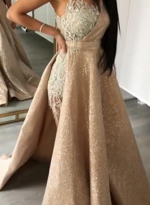 New Arrival Strapless Mermaid Appliques Evening Gown | Overskirt Tassels Sequins Prom Dress BC0980_3