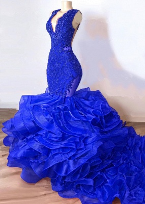 Gorgeous Royal Blue Mermaid Prom Dress | 2020 Lace Appliques Ruffles Evening Gowns BC1687_1