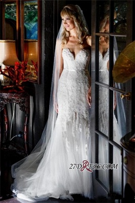 2020 Lace Tulle Sheath Appliques Sweetheart Sleeveless Open-Back Front-Slit Wedding Dress_5