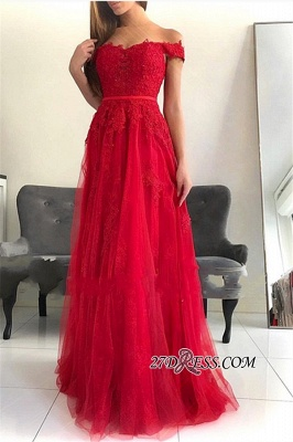 Off-The-Shoulder Hot Tulle Floor-Length Sleeveless A-Line sell Prom Dresses_3