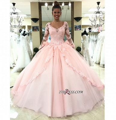 Long-Sleeve Pink Wedding Dress | Lace 2020 Ball-Gown Bridal Gowns_2