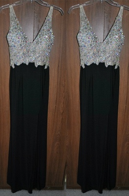 Newest Crystals A-line Straps Prom Dress 2020 Sleeveless Black_1