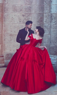 Newest Red Bowknot Ball Gown Evening Dress 2020 Off-the-shoulder Floor-length_1