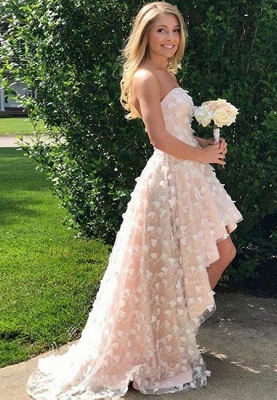 Strapless Hi-Lo Lace Appliques 2020 Prom Dress On Sale_1