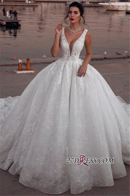 Glamorous Sleeveless V-Neck Wedding Dresses | Ball Gown Lace Sleeveless Bridal Gowns BC1995_2