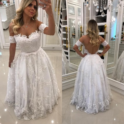 Modern White Beads Lace A-line Evening Dress | Off-the-shoulder Evening Gown_4