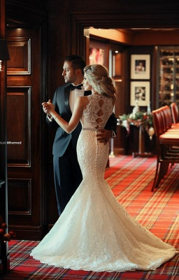 Gorgeous Lace Mermaid Wedding Dresses Beadings Sweep Train Bridal Gowns with Bottons_4