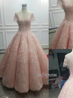 Fairy Ball-Gown Pink Short Sleeves 2020 Prom Dress Princess With Lace BC1621_3