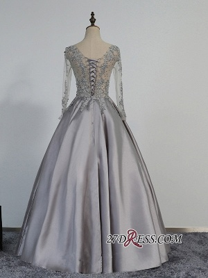 Modest Lace-Appliques Long-Sleeve Beading A-line Prom Dress_2