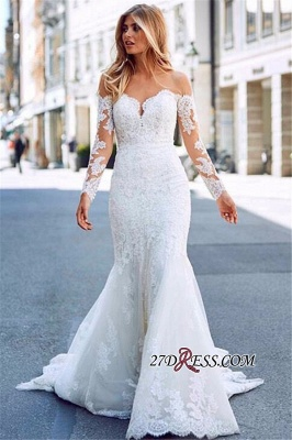 Exquisite Lace Mermaid Wedding Dresses | Off The Shoulder Long Sleeves Bridal Gowns_4