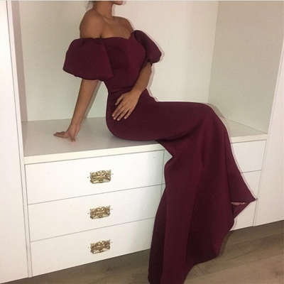 Off the Shoulder Maroon 2020 Evening Dress Mermaid Long On Sale_3