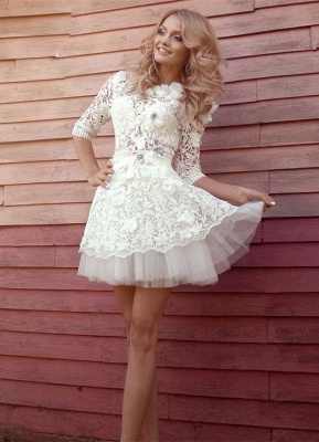 Lovely Half-Sleeves Lace Homecoming Dresses | Tulle Short Party Gowns_1