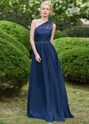 Gorgeous One Shoulder Navy Bridesmaid Dresses | 2020 Long Chiffon Prom Dress Online_1