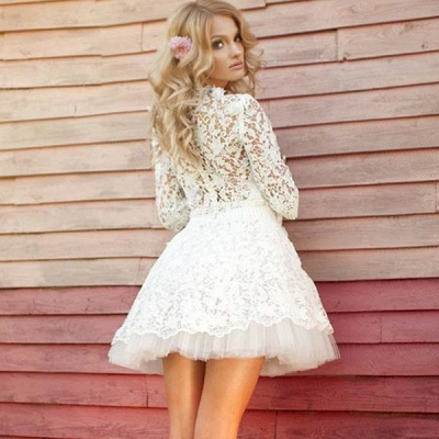 Lovely Half-Sleeves Lace Homecoming Dresses | Tulle Short Party Gowns_3