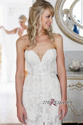 2020 Lace Tulle Sheath Appliques Sweetheart Sleeveless Open-Back Front-Slit Wedding Dress_4