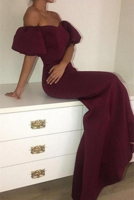 Off the Shoulder Maroon 2020 Evening Dress Mermaid Long On Sale_1