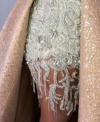 New Arrival Strapless Mermaid Appliques Evening Gown | Overskirt Tassels Sequins Prom Dress BC0980_5