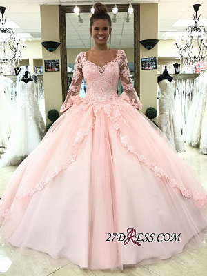 Long-Sleeve Pink Wedding Dress | Lace 2020 Ball-Gown Bridal Gowns_3