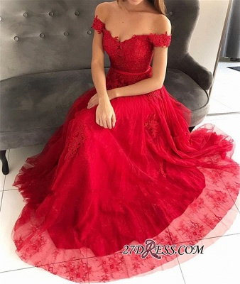 Off-The-Shoulder Hot Tulle Floor-Length Sleeveless A-Line sell Prom Dresses_2