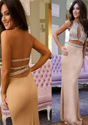 Gorgeous Crystals Mermaid 2020 Prom Dress Halter Two Piece_1